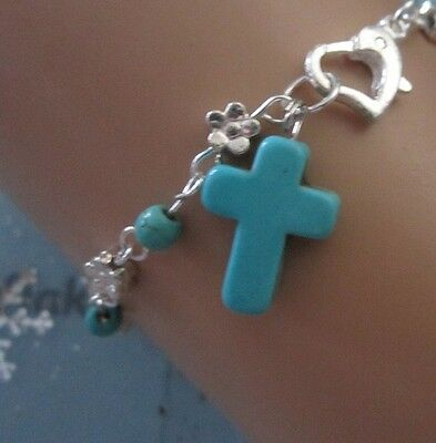 Anklet Bracelet 26 cm Flower Bead Turquoise Cross Silver Plated + Heart Clasp