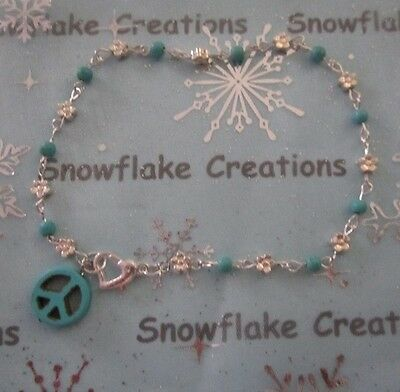Anklet Bracelet 26 cm Flower Turquoise Peace Sign Silver Plated + Heart Clasp