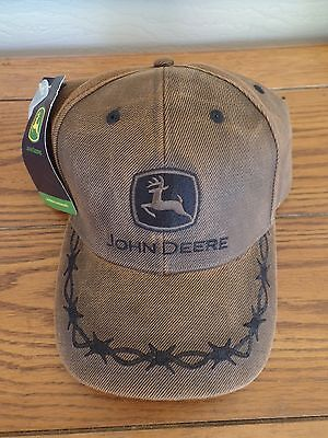 NWT John Deere Oilskin Adjustable Mens Hat.