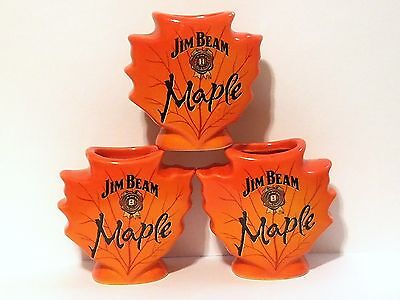 Jim Beam Maple Whiskey Shot Glasses Ceramic Orange Maple Leaf  Set Of 3