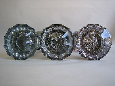 Vintage Qty 3 Glass & Silver door Knobs Turning Purple