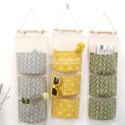 1Pc/3 Pocket Fashion Wall Hanging Bag Storage Pouch Hanging Organizer Home Decor
