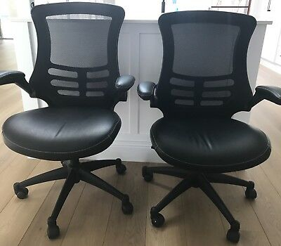2 x Officeworks Black Office Chairs - Leather Look
