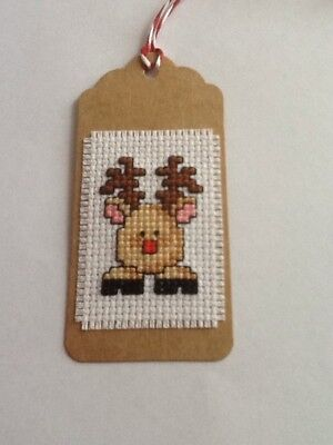 Handmade Completed Cross Stitch Gift Tag - Reindeer