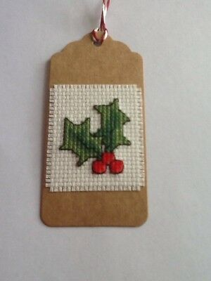 Handmade Completed Cross Stitch Gift Tag - Holly