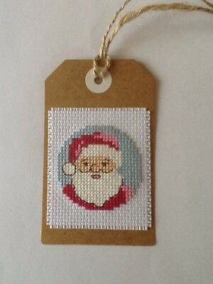 Handmade Completed Cross Stitch Gift Tag - Santa