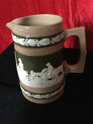 Copeland Hunting Scene Antique Jug In Relief of Green,Brown and White Colour