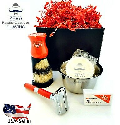 Zeva Luxury Shaving Omega Brush Safety Razor Stand Soap Bowl Travel Gift Set Red