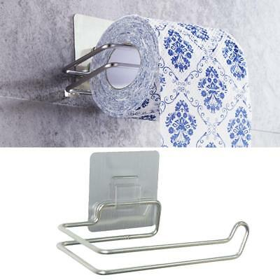 Self Adhesive Wall Mount Bath Stainless Steel Toilet Paper Roll Holder storagePI