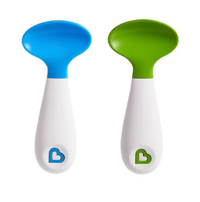Baby Feeding Scooper Spoons Scoop Soft Tip Trening Munchkin 2Pk Blue/Green