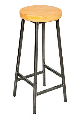 'Bertie Cherry' Steel Frame Industrial Bar Stool with Cherry Seat