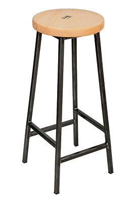 'Bertie Sixsmith' Steel Frame Industrial Bar Stool with Sycamore Seat