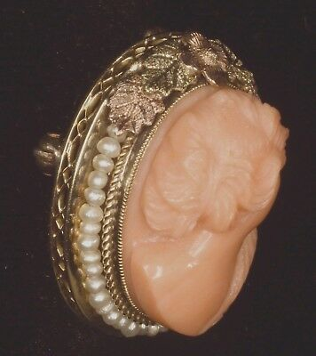 Antique Deeply Carved Salmon Coral Cameo 14kt Seed Pearls Pendant Brooch Pin