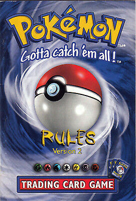 Original Vintage Pokemon TCG Card Game Starter Rule Book Version 2 EX/NM