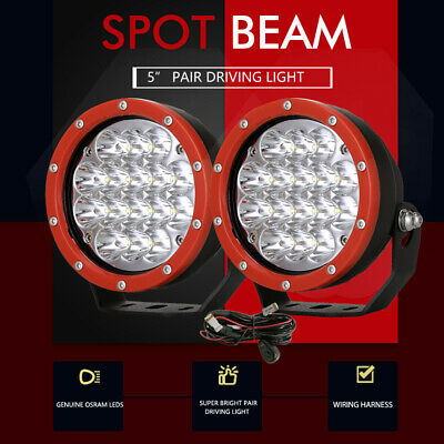 Pair 5inch 21600w CREE LED Driving Work Lights Spotlights lamp Offroad 4x4 Black