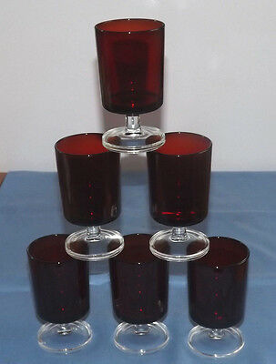 Luminarc Arcoroc France 6 vintage ruby red clear stem cordial wine glasses