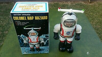 Vintage  1960's Colonel Hap Hazard Robot Toy Working With Box