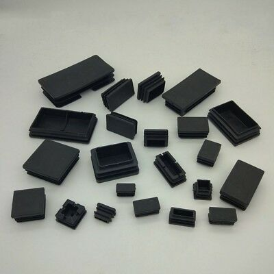 Plastic Black Blanking End Caps Tube Pipe Inserts Plug Bung  Rectangular