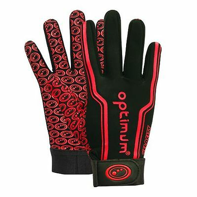 "Optimum ""velocity"" Full Finger Thermal Rugby Gloves - Black/red - Pair."
