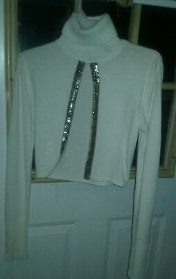 Beautiful & Soft Creme Colored Dressy Sweater with gold sequins,  Jr. Size Small