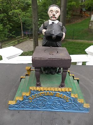 "Vintage Cast Iron Hand-Painted Mechanical ""magician Bank"" -It Works-No Key"