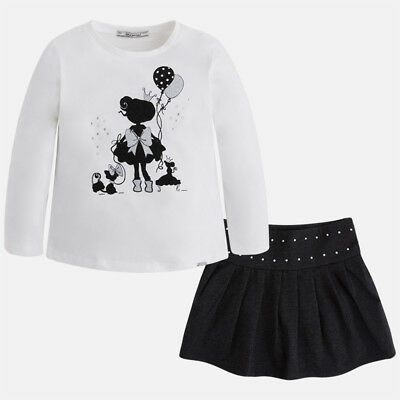 Mayoral Girls Long Sleeved T-Shirt and skirt set in Anthracite (04973) aged 2-9