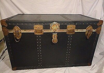"Trunk Large Chest Steel Corners Leather Handles Vintage Storage 36""x22""x20"""
