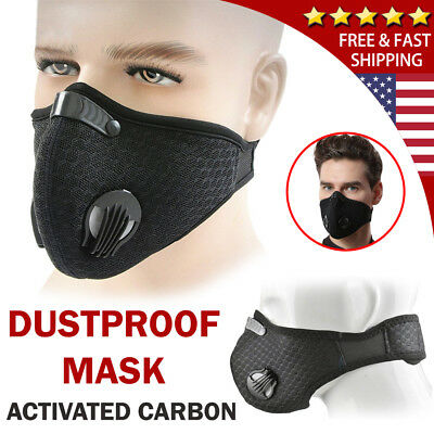 Black Respirator Mask Dust Proof Filtered Activated Carbon Filtration Half Face