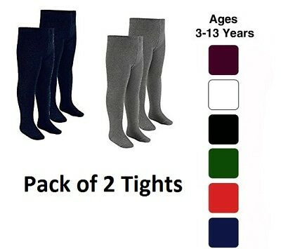 2x Girls Tights Soft Cotton Rich School Kids Tights Age 2-13 Years All Colors