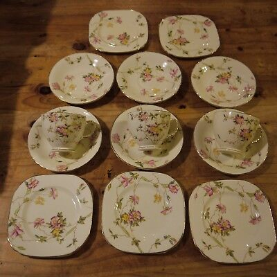 Sutherland China -  3 Cups, 5 Side Plates and 6 Saucers - Briar Roses pattern