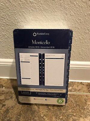 Monticello 2018 Planner Refill 2 Pages Per Day Franklin Covey Daily Blue Tabs