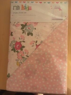 Flowers Design duvet cover and pillowcase set cot bed bnwt 135x200 Cm