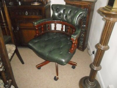 Leather Captain swivel chair Green