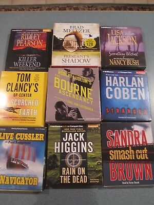 Lot of 9 AUDIOBOOKS on cd by assorted authors....LOOK !!