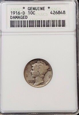 1916-D Mercury Dime 10c ANACS Genuine Damaged - $700++