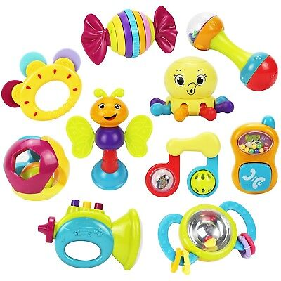Musical Toy Baby Gift Set 10 Rattles Teether, Ball Shaker,Grab and Spin Rattle,