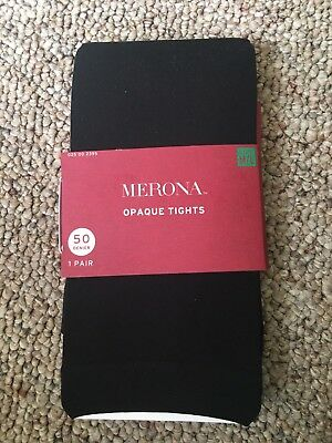 1 pair Merona Opaque Tights Women's size M/L Black 50 Denier NEW