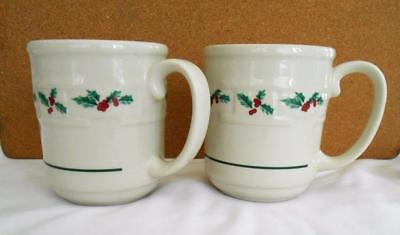 Longaberger set of 2 Woven Traditions Holly Christmas mugs Mint