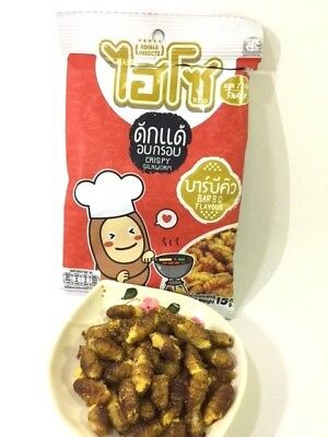 Bbq Flavor Thai Crispy Edible Insect Assort Local Protein Fried Silk Worm Snack