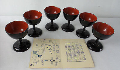 Vintage Bembo Black Lacquerware Okinawa Cordial Glass Footed Cup Set of 6