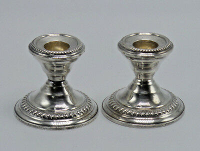 Pair STERLING Silver Candlesticks NS & Co New York Weighted Early 1900's
