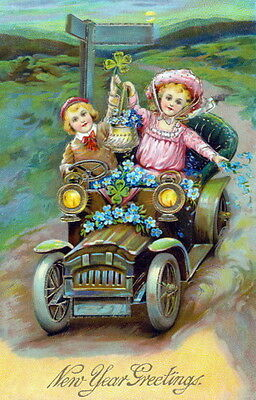 New Year~Cute Children~Forget Me Nots~Antique Auto~4 Leaf Clover~NEW Note Cards