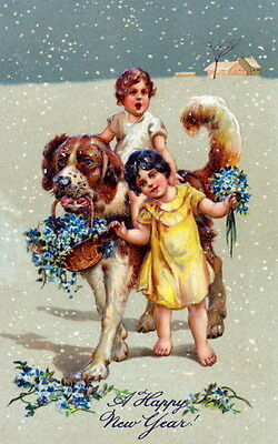 Vintg New Year~Cute Girls~St.Bernard Puppy Dog~Forget Me Nots~SnowNEW Note Cards