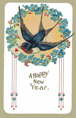 Vintage New Year~Bluebird in Circle of Forget Me Not Flowers ~NEW Lge Note Cards