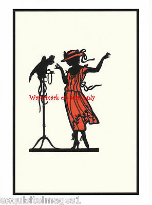 Lady w Parrot~Art Deco Silhouette~ NEW Large Note Cards