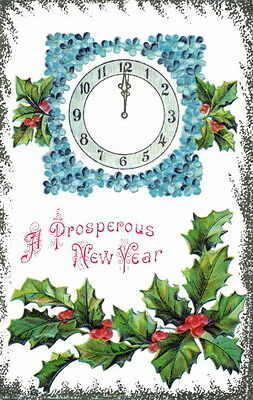 Vintge New Year~Clock at Midnight~Forget Me Not Flowers~Holly NEW Lge Note Cards
