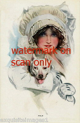 c1900 Harrison Fisher~Staffordshire~Pitbull Terrier~Woman inWhite NEW Note Cards