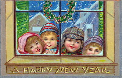 Vintg New Year Greetings~Children Looking In Window~Wreath~NEW Lg Note Cards