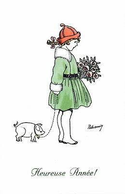 French Happy New Year~Cute Girl Walking Pig~Roses Bouquet~NEW Large Note Cards