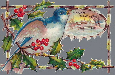 Vintage New Year~Bluebird on Holly Branch w Berries~NEW Large Note Cards